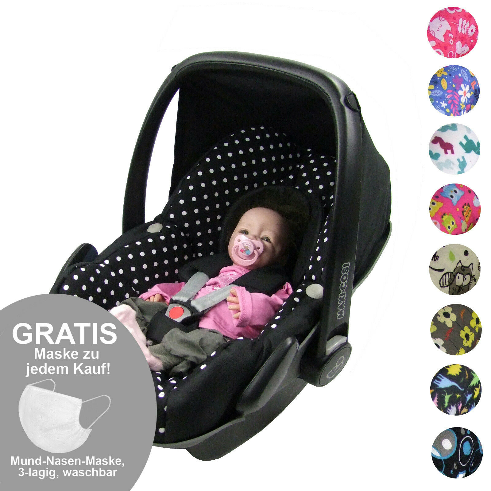 BAMBINIWELT Ersatzbezug Bezug Set für Babyschale von Maxi-Cosi PEBBLE XX