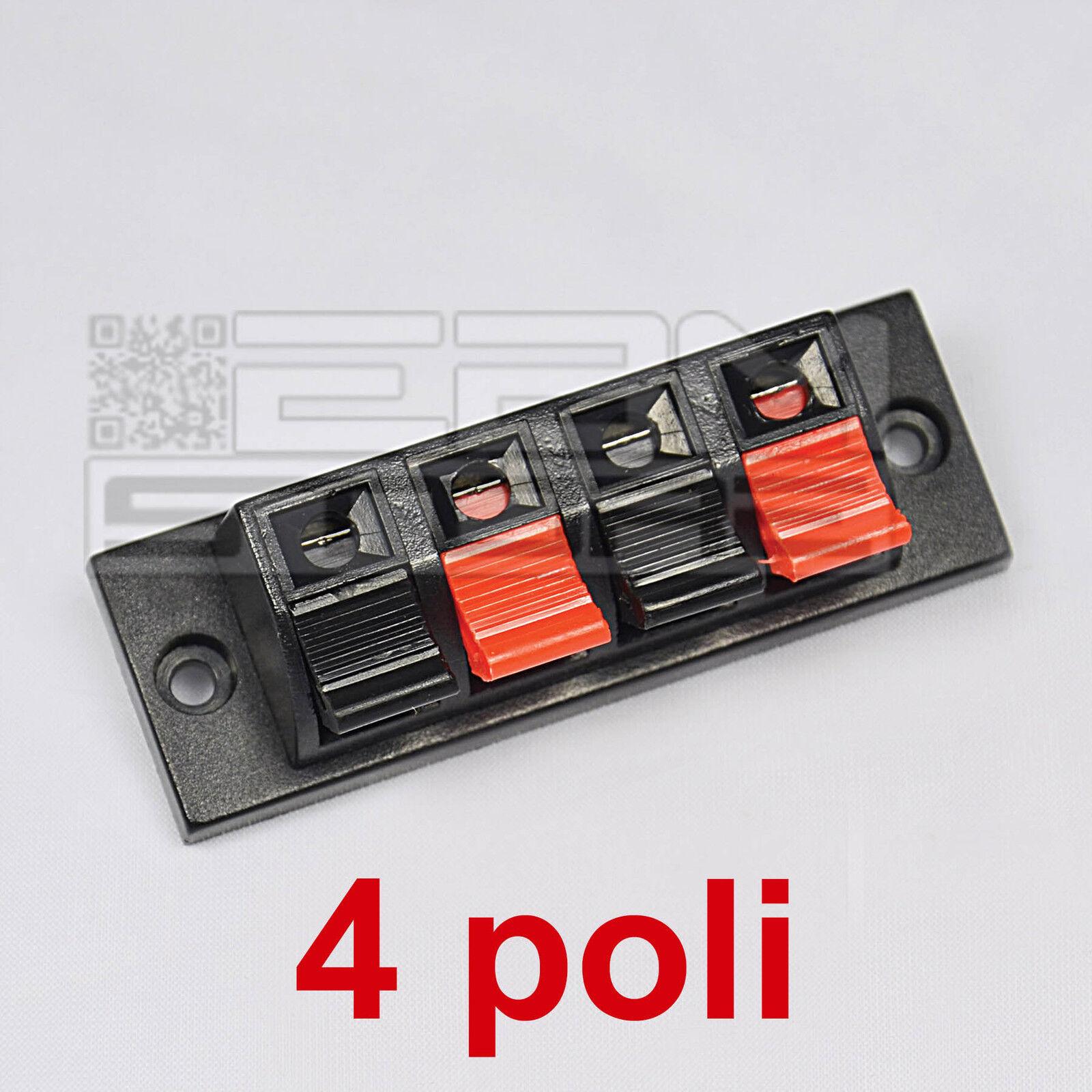 Morsettiera 4 poli per altoparlante - morsetto a molla per casse - ART. BH02
