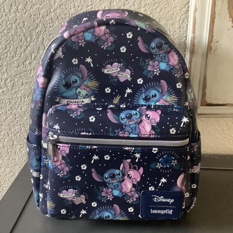 Disney Lilo & Stitch Tattoo Print Mini Backpack Scrump Angel AOP 1 Exclusive New