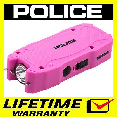 Police Stun Gun Mini Pink 1901 550 Bv Rechargeable Led Flashlight