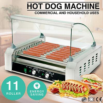 30 Hotdog Roller Commercial Bread Hot Dog 11 Roller Grill Cooker Machine Wcover