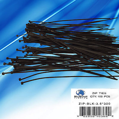 USA FREE SHIP ~ 100 BLACK Plastic Cable Cord Wire Zip Ties 11.8'' 12 BRAND NEW