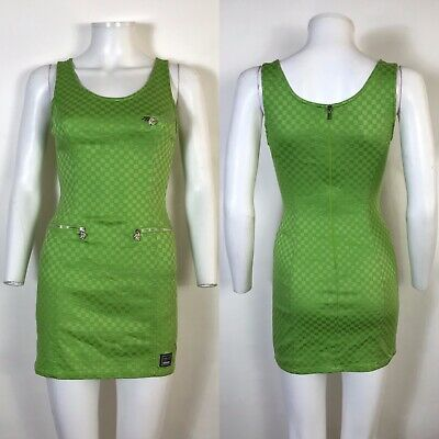 Rare Vtg Gianni Versace Jeans Bodycon Green Medusa Zip Mini Dress S