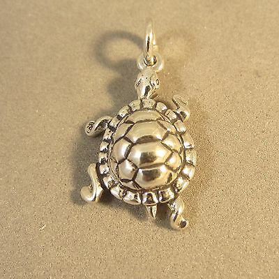 Sterling 925 Charm Pendant - .925 Sterling Silver Walking TURTLE CHARM NEW Pendant Land Tortoise 925 NT75