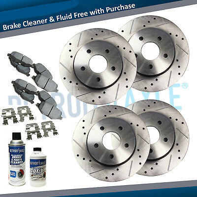 Front  Rear Drilled Brake Rotors  Ceramic Pad for Volkswagen Jetta Golf Beetle