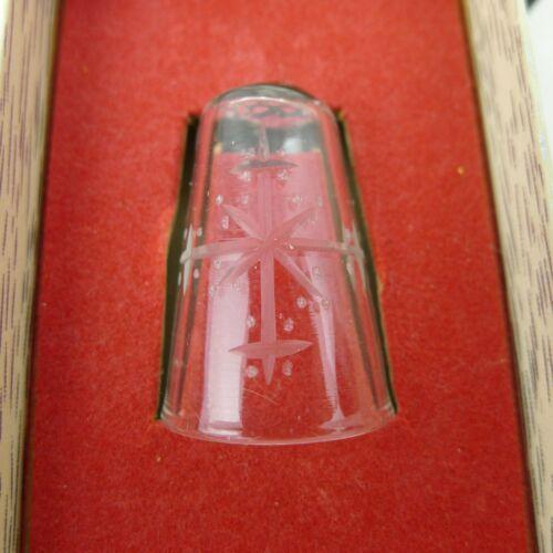 Raimundas Lapsys Crystal Thimble 1977 Etched Snowflake Design Boxed Signed