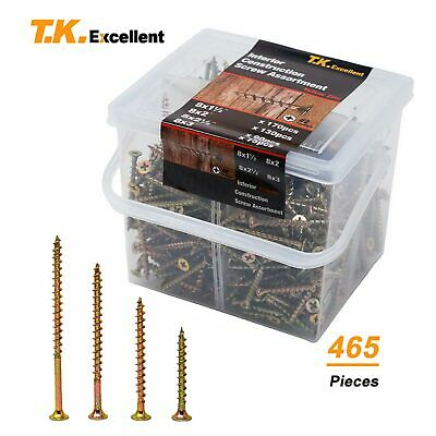 Wood Interior Construction Screws Drywall Deck Screws Assortment Kit465 Pcs