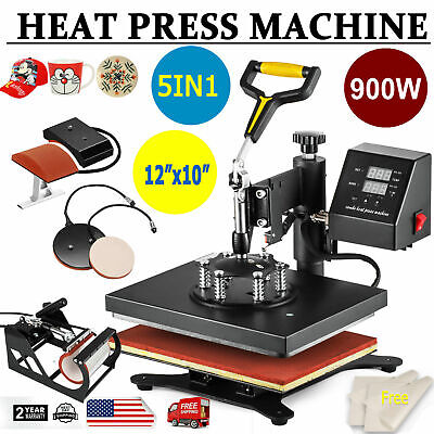 5 In 1 Heat Press Machine Digital Transfer Sublimation For T-shirt Mug Hat