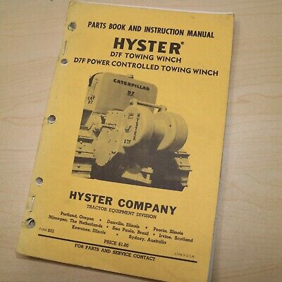 D7f Cat Caterpillar Tractor Hyster Winch Owner Parts Manual Operator Book Guide