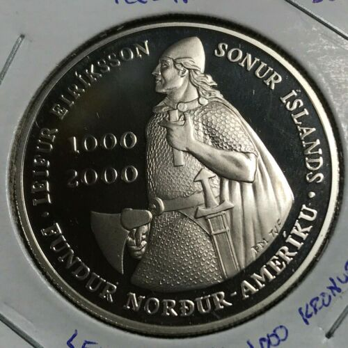 2000 ICELAND LEIF ERICSON PROOF SILVER 1000 KRONORS BRILLIANT UNCIRCULATED