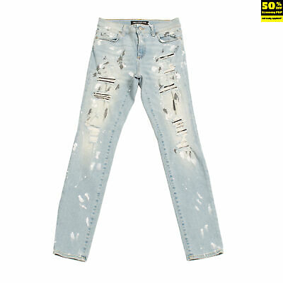 DEPARTMENT 5 Jeans Size 27 Ripped Paint Splatter Faded Worn Look Zip Fly