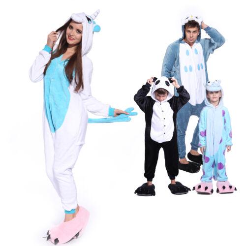 Erwachsene Kostüm Jumpsuit Schlafanzug Hausanzug Overall Blau Einhorn Pyjamas