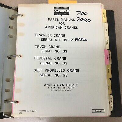 American 700 Crawler Truck Crane Parts Manual Book Catalog Guide List 7260