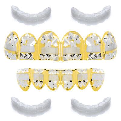 Men's Grillz 14k Gold Plated Diamond Cut Plain Top & Bottom Teeth LS001-C3