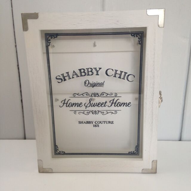 Shabby Chic Wall Mounted White Key Cabinet