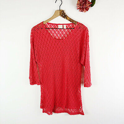 CHICO'S Women's Blouse Tunic Top Coverup Coral Mesh Netted 3/4 Sleeve Size 1
