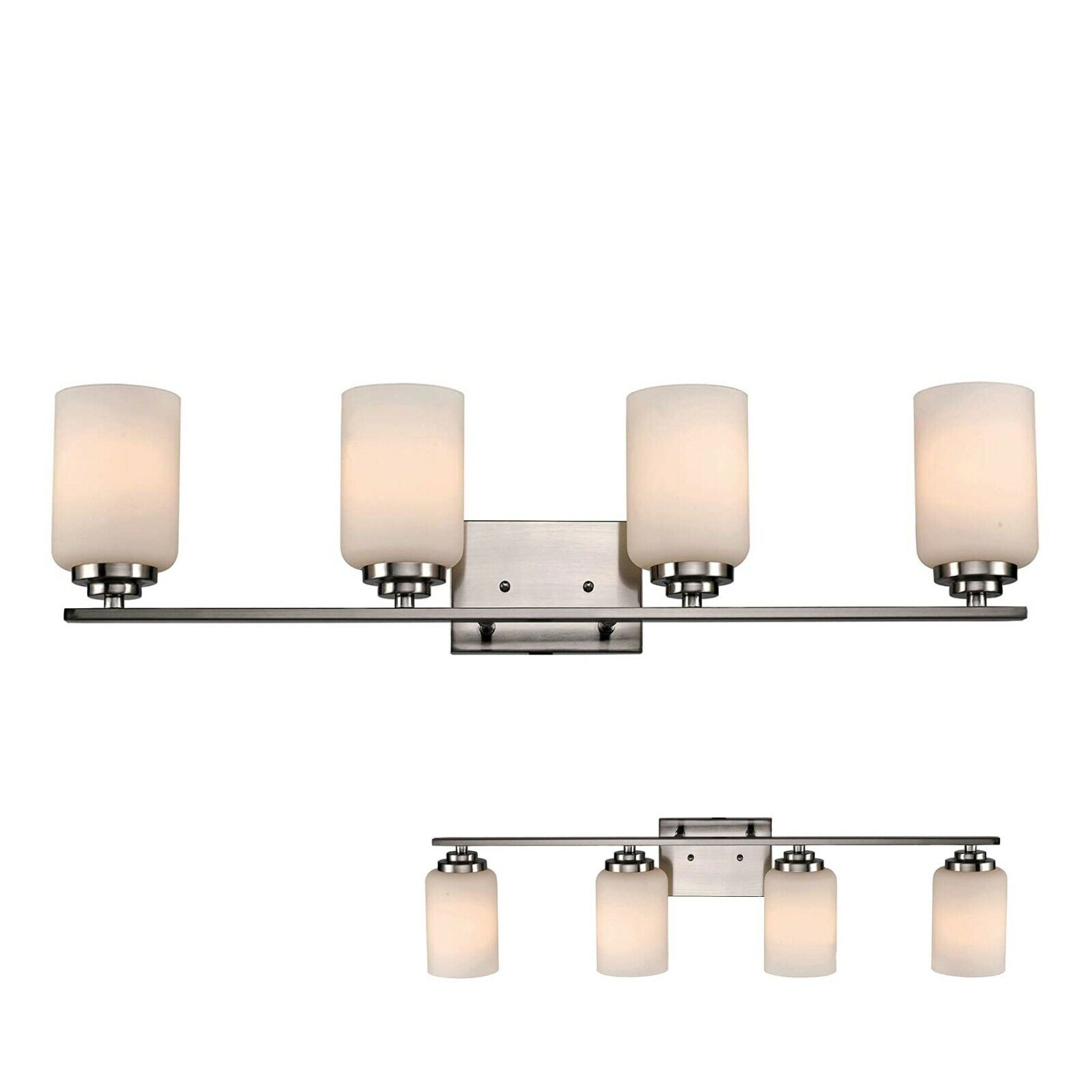 4-Bulb Bathroom Vanity Light Bar Fixture with White Glass Globes, Chrome Home & Garden