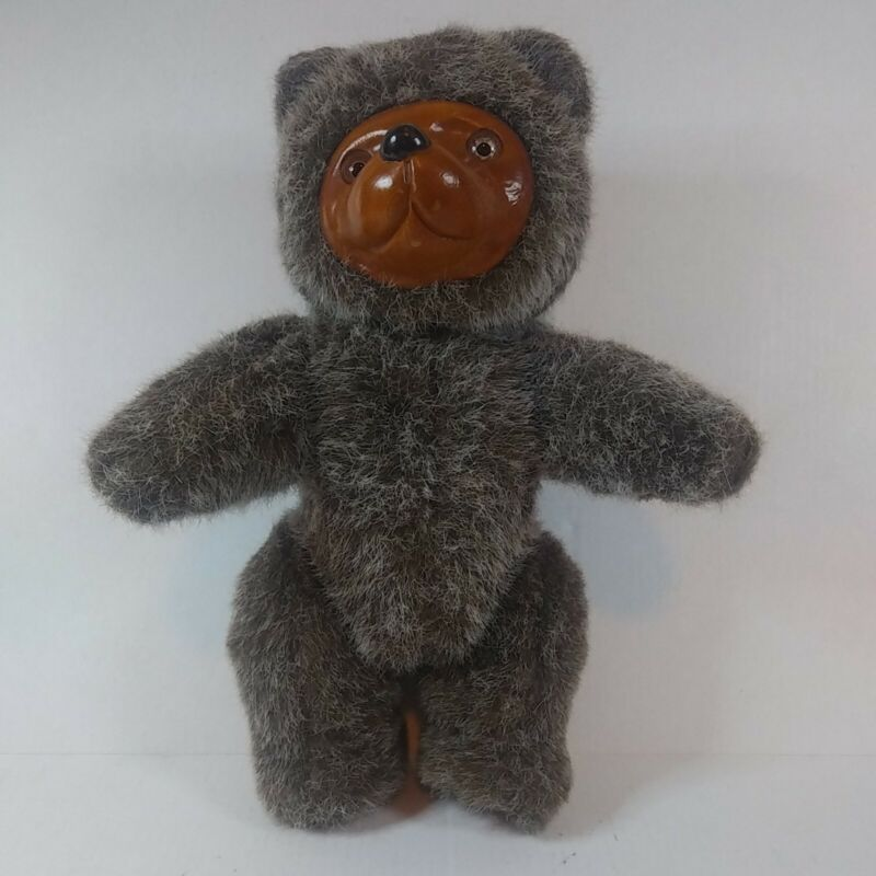 """Vintage Robert Raikes Wood Face 9"""" Jointed Teddy Bear - By Applause 1985"""