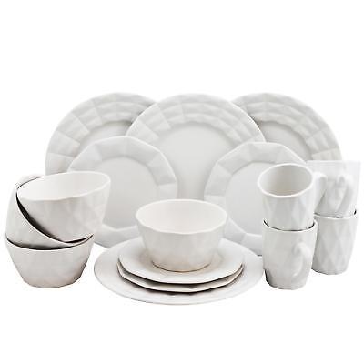 Elama Retro Chic 16-Piece Glazed Dinnerware Set in White -NEW- - Retro Dinnerware Sets