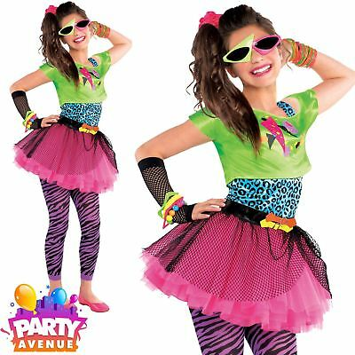 80s Totally Awesome Costume Teen Neon Pink Tutu Fancy Dress Girls Outfit New ()