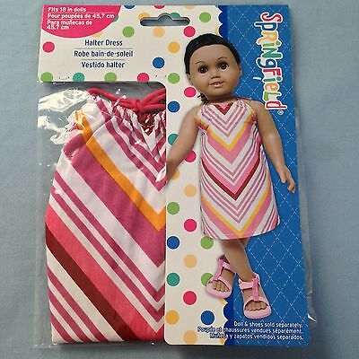 """Springfield Doll Clothes -Striped Halter Dress -fits American Girl/18"""" doll"""