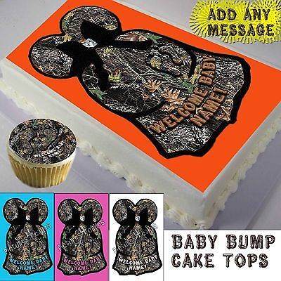 Baby Shower camo dress Cake or Cupcake toppers picture sheet sugar camouflage](Camo Cake Toppers)