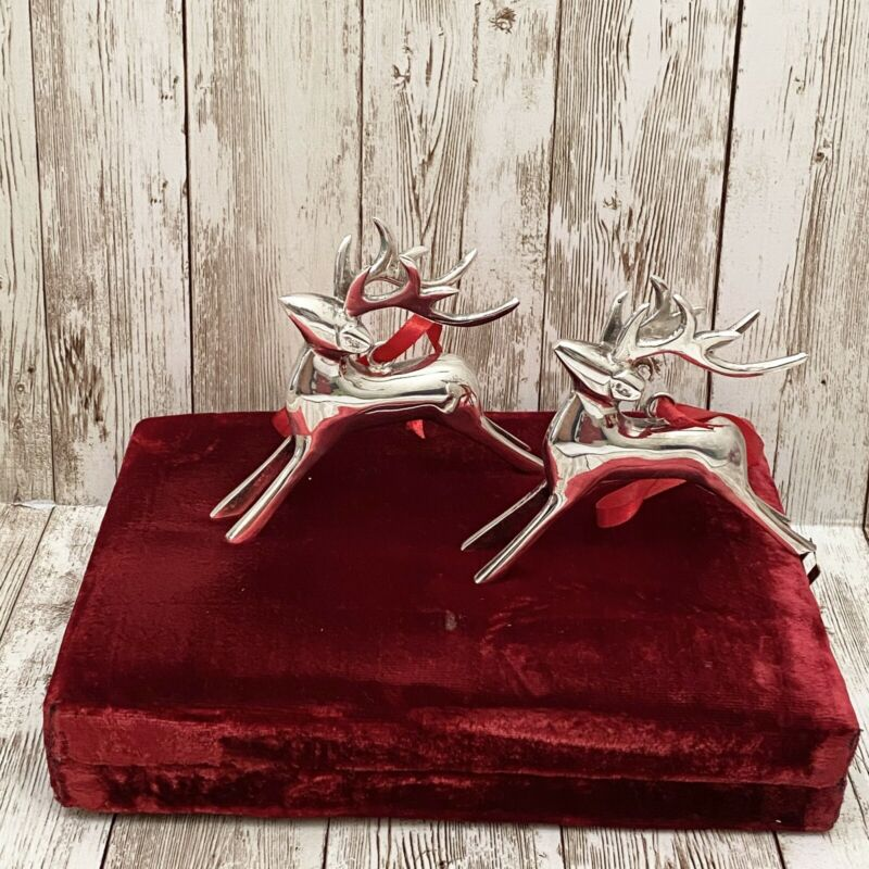 Vintage Silver Plated Reindeer Christmas Tree Ornament Set Made in India