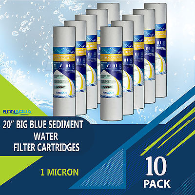 "4.5"" x 20"" Big Blue Sediment 1 Micron Water Filters Cartridges Set of 10"