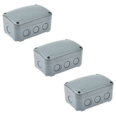 3 Pack Outdoor Weatherproof Grey Cover Electrical Junction Box Case 125x86x62mm