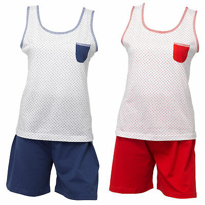 Womens 100% Cotton PJs Set Ladies Polka Dot Sleeveless Top Plain Shorts Pyjamas ()