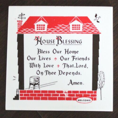 Ceramic House Blessing Wall Hanging or Trivet Tile by Friar Tiles 1954