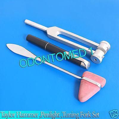 Set Of 3 Pcs Reflex Taylor Percussion Hammer Penlight Tuning Fork 256c