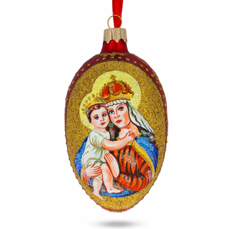 Icon Glittered Egg Glass Ornament