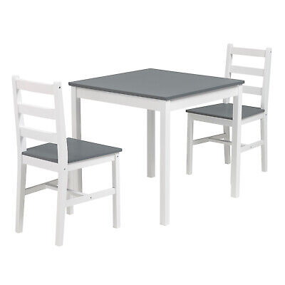 3PCS Dining Table Set 2 Chairs Kitchen Dining Room Furniture Pine Wood Grey