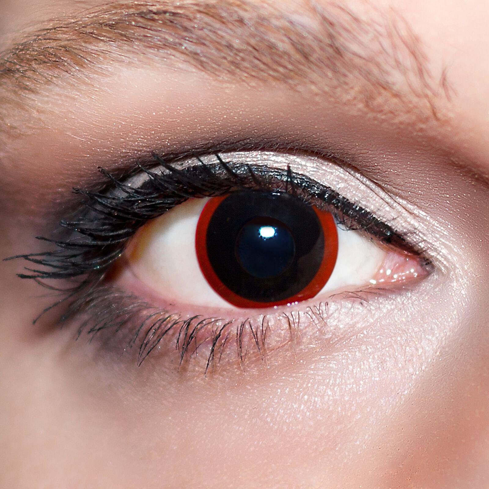 Schwarze Kontaktlinsen Hexe farbige Schwarz Rote Motivlinsen Black Eyes Fun;K528