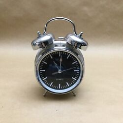 SILVER QUARTZ ANALOG TWIN BELL BLACK SCREEN LOUD ALARM CLOCK WITH LIGHT
