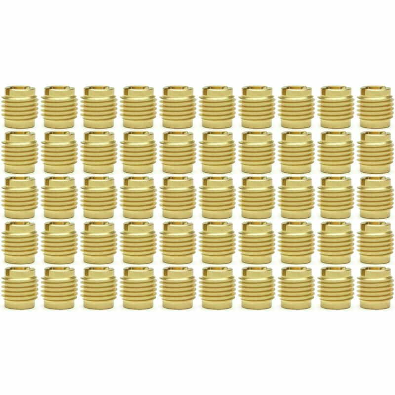 """Fifty (50) 1/4""""-20 Brass Knife Threaded Inserts For Wood 