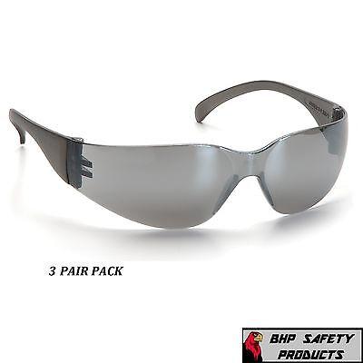 SAFETY GLASSES SILVER MIRROR LENS SPORT EYEWEAR PYRAMEX INTRUDER S4170S (3 PAIR)