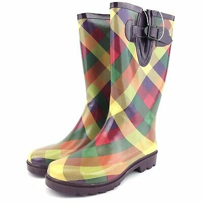 Merona Purple Plaid Rain Boots Womens Size 6 Side Buckle Waterproof Rainboot Purple Rain Boot