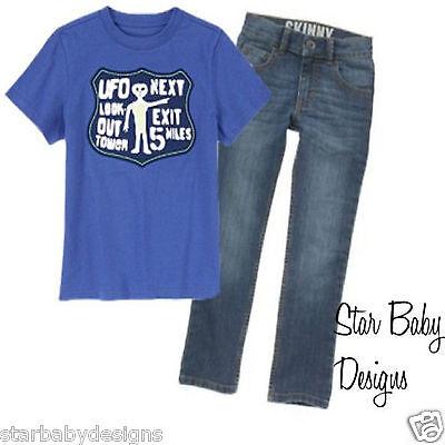 NWT Gymboree UFO SPACE Outfit,Alien TShirt Top,Denim Jeans Adj Waist,Size 5