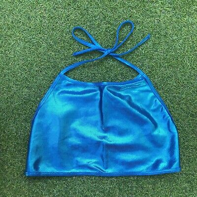 American Apparel Shiney Blue Halterneck Crop Top , used for sale  Shipping to Nigeria