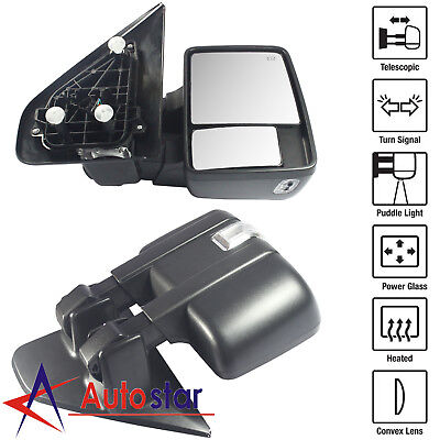 Pair Towing Mirror Power Heated Turn Signal Puddle Lamp For 2004-2006 Ford F150