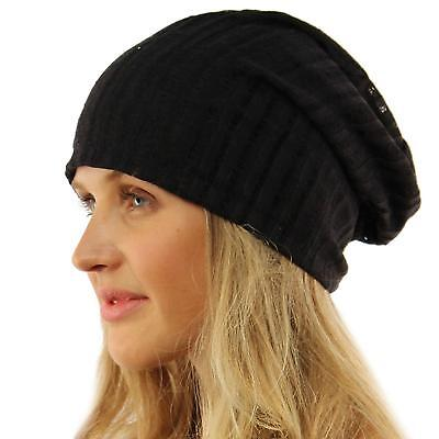 Unisex Distressed Stripe Thin Lined Slouch Long Beanie Skull Hat Cap Black S/M