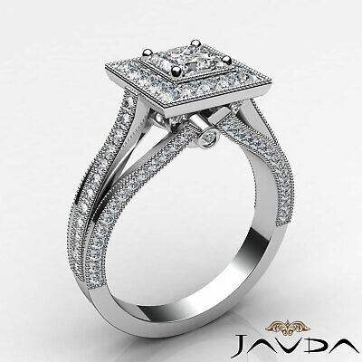 Milgrain Bezel Princess Diamond Engagement Split Shank Ring GIA F VVS1 1.40 Ct