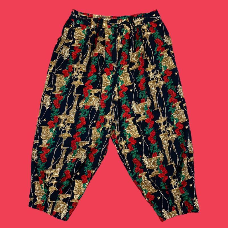 VINTAGE 80s Korean Pants XL Floral Rose Pleated Jogger Baggy Ajumma Style