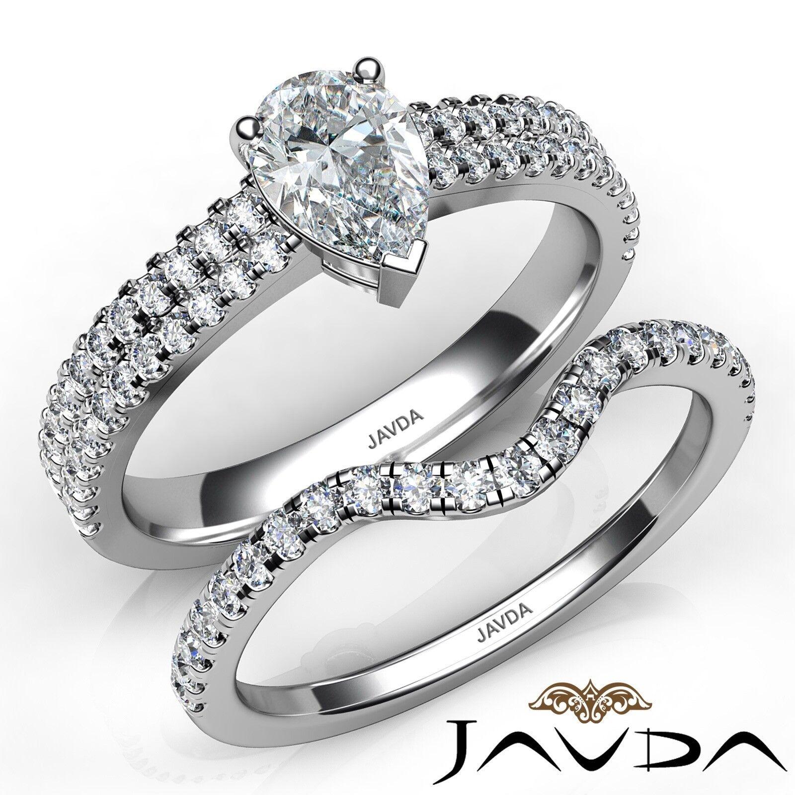 1.5ctw Bridal Scalloped Pave Set Pear Diamond Engagement Ring GIA E-VS1 W Gold