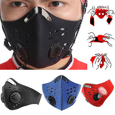 Reusable PM2.5 Anti-Dust Mouth Face Mask Outdoor Riding Bike Cycling Adult UK