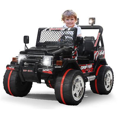 Kids Ride on Toys 12v Electric Cars Battery Wheels Jeep Black Gift W/ Safty belt