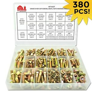Grade 8 Hex Bolts Cap Screws, Nuts & Washers Assortment Kit - 380 Pieces!