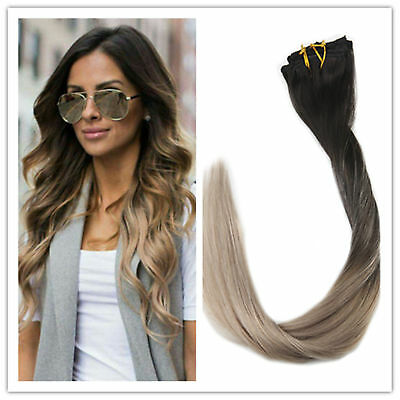 """Used, Full Shine 14"""" 7pcs Black to Ash Blonde Ombre Color Clip in Hair Extensions 50g for sale  China"""